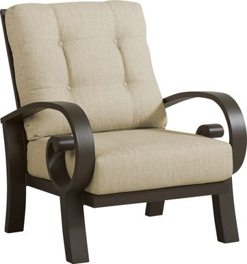 Bermuda Bay Aged Bronze Outdoor Club Chair with Straw Cushions