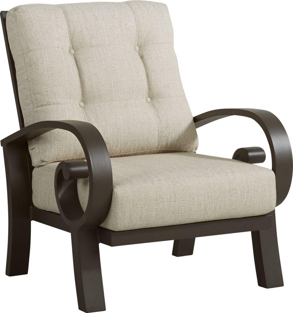 Bermuda Bay Aged Bronze Outdoor Club Chair with Wren Cushions
