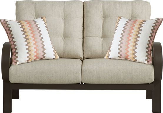 Bermuda Bay Aged Bronze Outdoor Loveseat with Wren Cushions