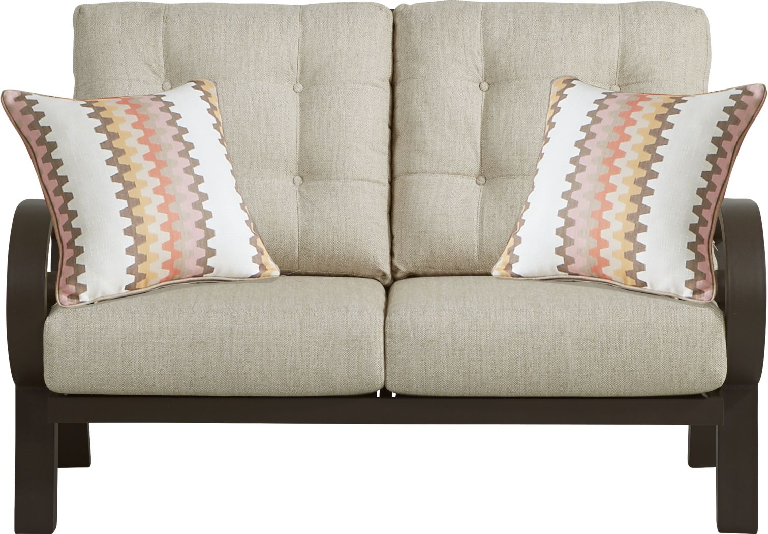 Bermuda Bay Aged Bronze Outdoor Loveseat with Wren Cushions