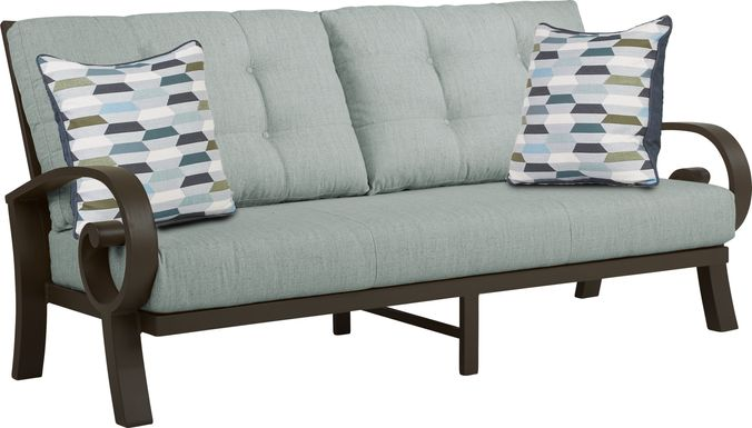 Bermuda Bay Aged Bronze Outdoor Sofa with Mist Cushions