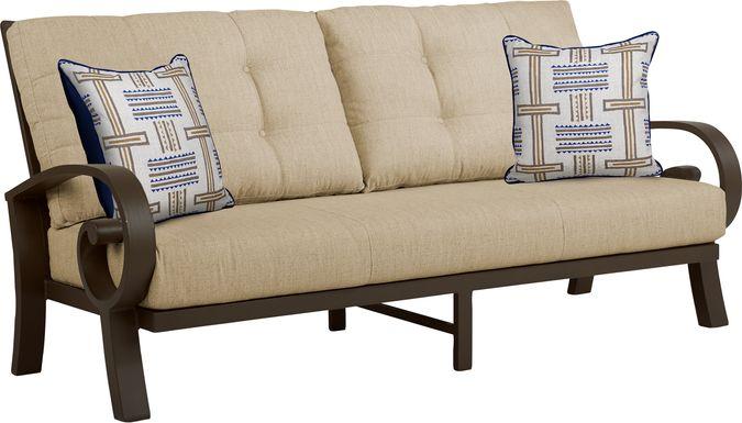 Bermuda Bay Aged Bronze Outdoor Sofa with Straw Cushions