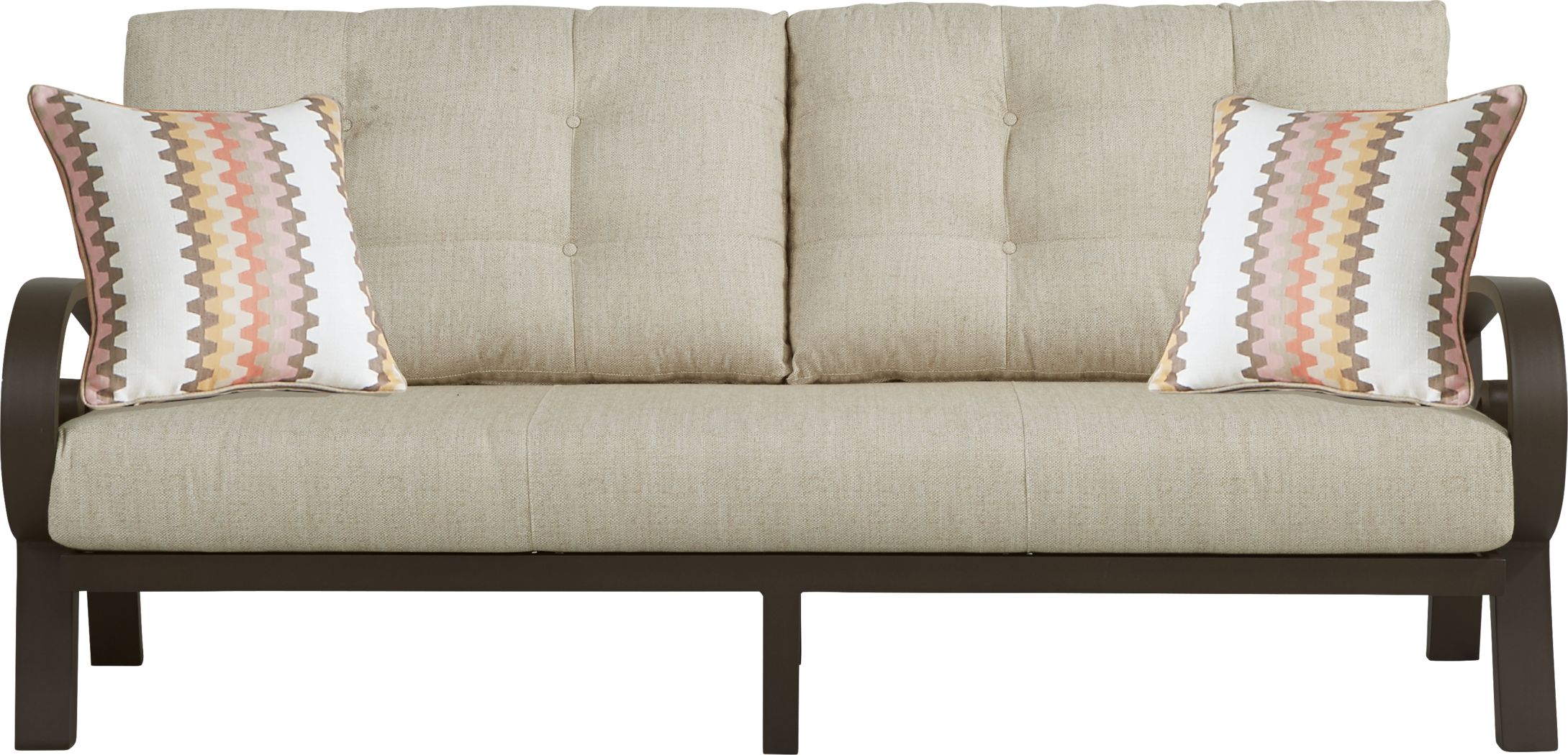 Bermuda Bay Aged Bronze Outdoor Sofa with Wren Cushions