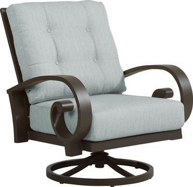 Bermuda Bay Aged Bronze Outdoor Swivel Club Chair with Seafoam Cushions