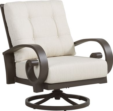 Bermuda Bay Aged Bronze Outdoor Swivel Club Chair with Parchment Cushions