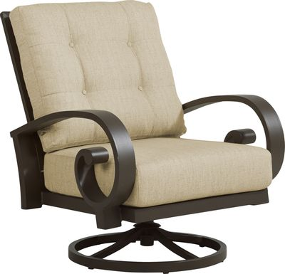 Bermuda Bay Aged Bronze Outdoor Swivel Club Chair with Straw Cushions
