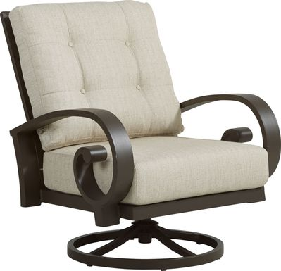 Bermuda Bay Aged Bronze Outdoor Swivel Club Chair with Wren Cushions