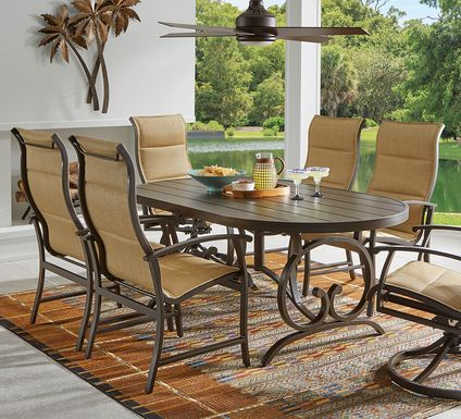 Bermuda Breeze Aged Bronze 5 Pc Outdoor 74 in. Oval Dining Set with Sling Chairs