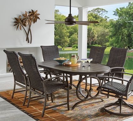 Bermuda Breeze Aged Bronze 5 Pc Outdoor 74 in. Oval Dining Set with Wicker Chairs