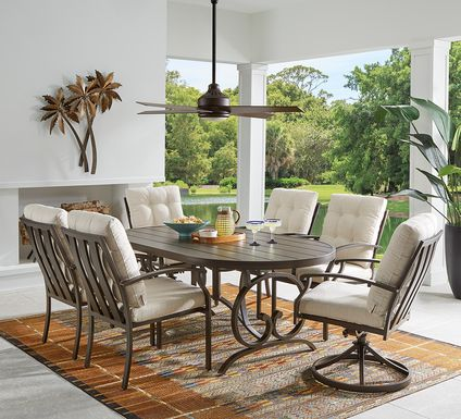 Bermuda Breeze Aged Bronze 5 Pc Outdoor 74 in. Oval Dining Set with Parchment Cushions