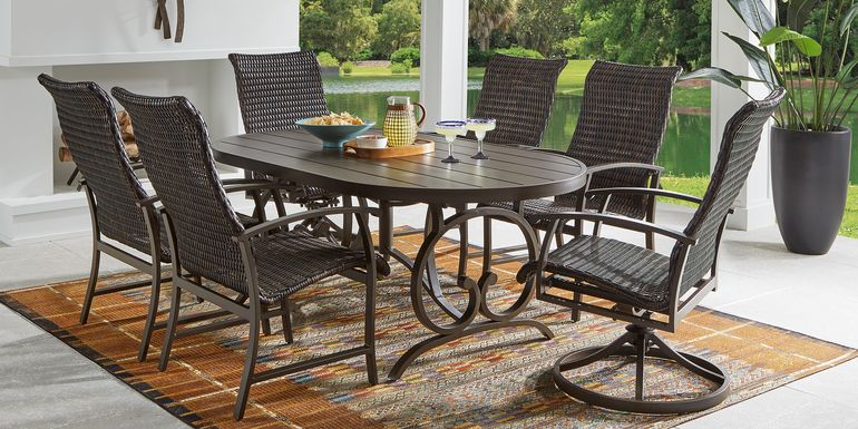 Bermuda Breeze Aged Bronze 7 Pc Outdoor 74 in. Oval Dining Set with Wicker Chairs