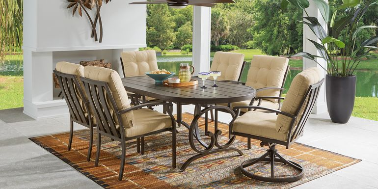 Bermuda Breeze Aged Bronze 7 Pc Outdoor 74 in. Oval Dining Set with Straw Cushions