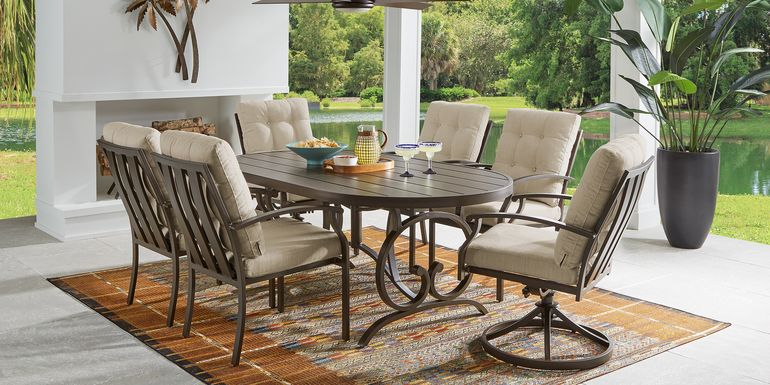 Bermuda Breeze Aged Bronze 7 Pc Outdoor 74 in. Oval Dining Set with Wren Cushions