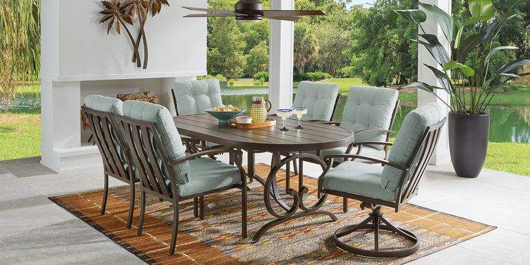 Bermuda Breeze Aged Bronze 7 Pc Outdoor 74 in. Oval Dining Set with Mist Cushions