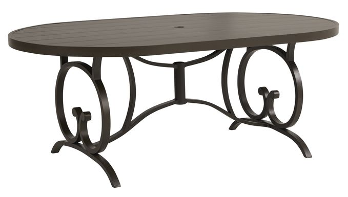 Bermuda Breeze Aged Bronze 78 in. Oval Outdoor Dining Table