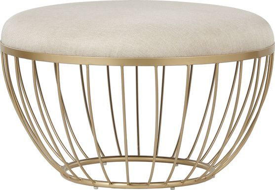 Bertita Ivory Upholstered Cocktail Ottoman