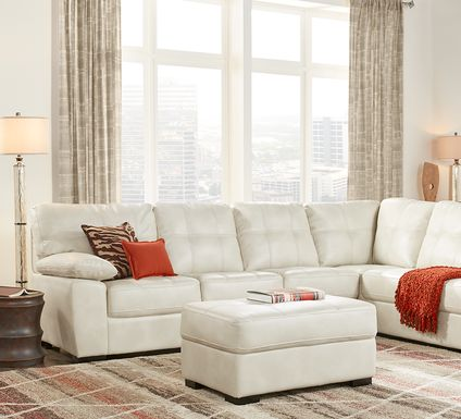 Bexley Square Cream 3 Pc Sectional Living Room
