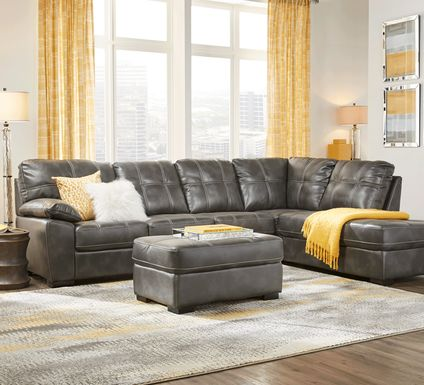 Bexley Square Slate 3 Pc Sectional Living Room