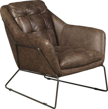 Bidwell Brown Leather Accent Chair