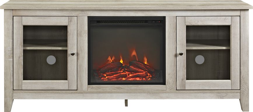 Blaize White 58 in. Console with Electric Fireplace