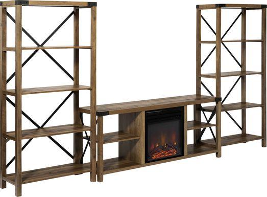 Blakewood Brown 60 in. Console, With Electric Fireplace