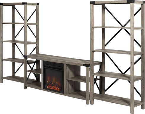 Blakewood Gray 60 in. Console, With Electric Fireplace