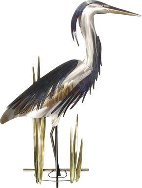 Blue Heron I Silver Outdoor Artwork
