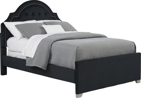 Kids Braelynn Black 3 Pc Full Upholstered Bed