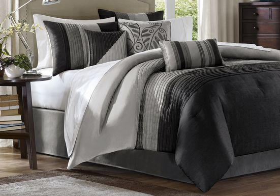 Brenna Black/Gray 7 Pc Queen Comforter Set
