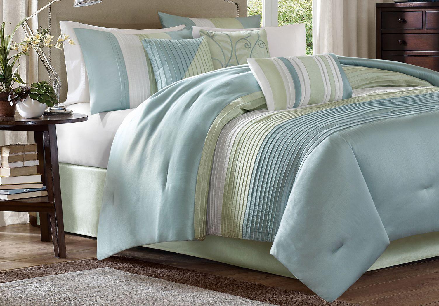 Brenna Blue/Green 7 Pc King Comforter Set