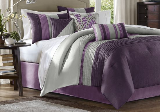 Brenna Purple 7 Pc Queen Comforter Set