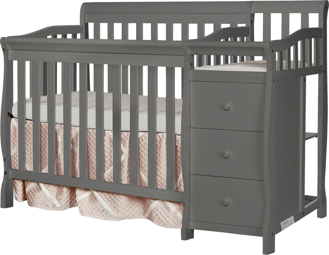 Brentley Gray Mini Convertible Crib and Changer