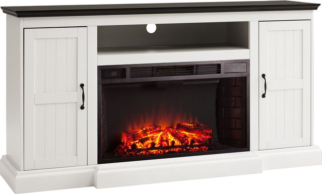 Breyfogle White 66 in. Console With Electric Log Fireplace