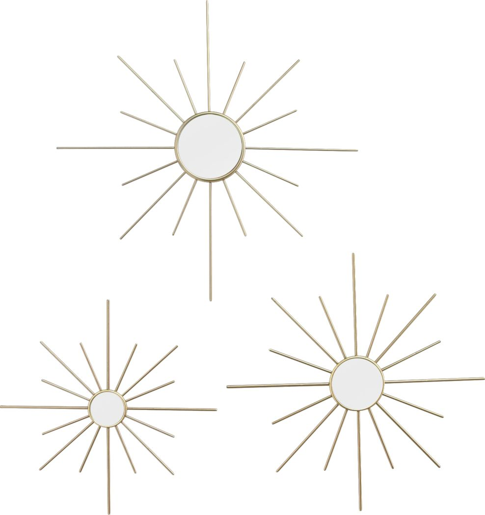 Bright Starlight Gold Mirrors Set of 3