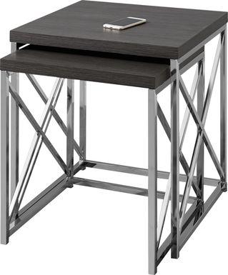 Brillock Charcoal Chrome Nesting Tables