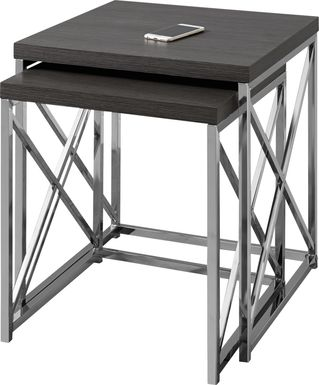 Brillock Charcoal Chrome Nesting Tables