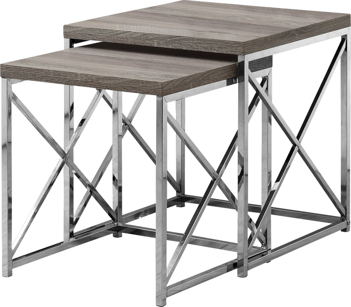 Brillock Taupe Chrome Nesting Tables