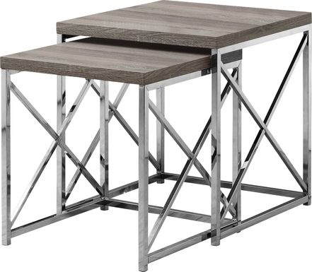 Brillock Taupe Chrome Nesting Tables