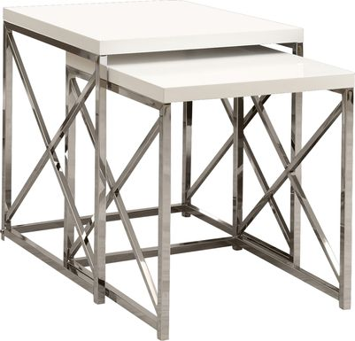 Brillock White Chrome Nesting Tables