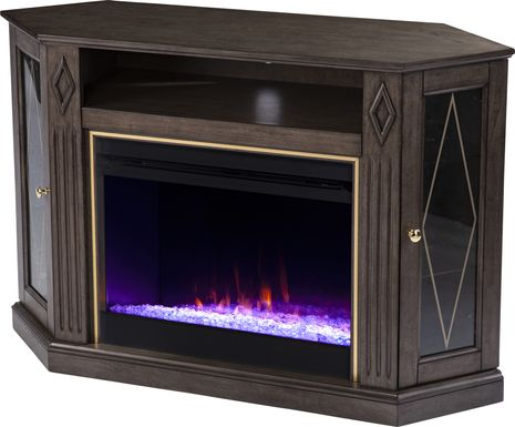 Brockdell I Brown 47 in. Console, With Electric Fireplace