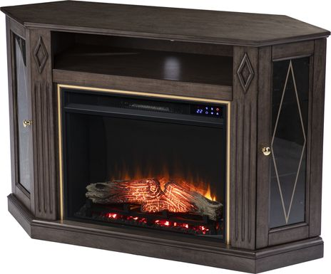 Brockdell II Brown 47 in. Console, With Electric Log Fireplace