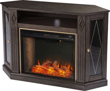 Brockdell III Brown 47 in. Console, With Smart Electric Fireplace