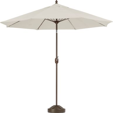 Brolly 9' Octagon Outdoor Beige Umbrella with 50 lb.  Base