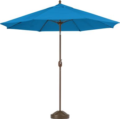 Brolly 9' Octagon Outdoor Blue Umbrella with 50 lb. Base