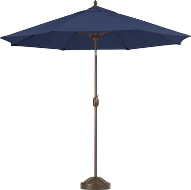 Brolly 9' Octagon Outdoor Navy Umbrella with 80 lb. Base