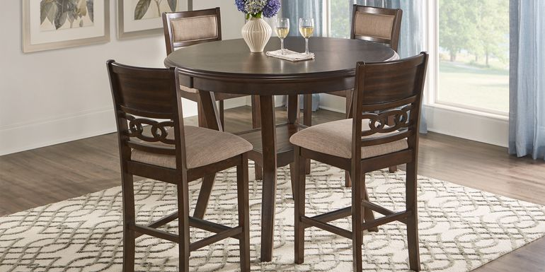 Brookgate Brown Cherry 5 Pc Round Counter Height Dining Set
