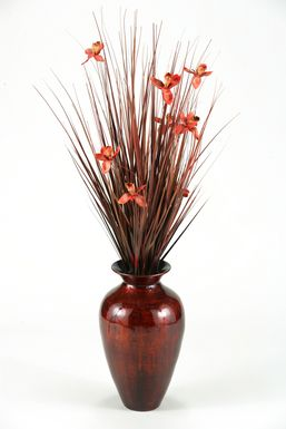 Brown Ting with Burgundy Blossoms in Spun Bamboo Vase