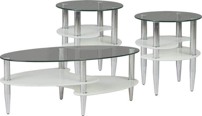 Brunson Silver 3 Pc Table Set