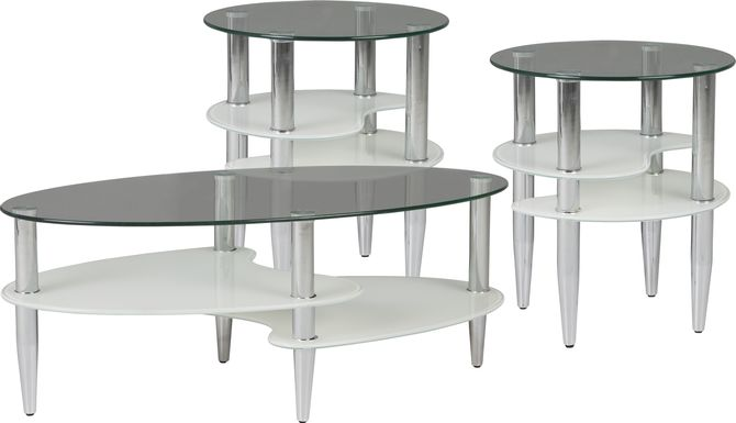 Brunson Silver 3 Pc Table Set