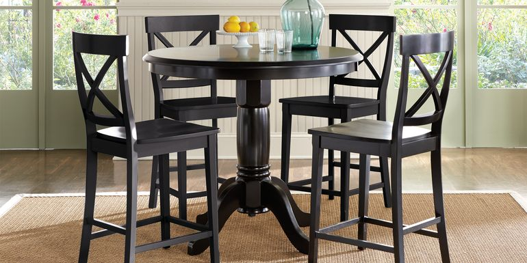 Brynwood Black 5 Pc Counter Height Dining Set with Black Stools